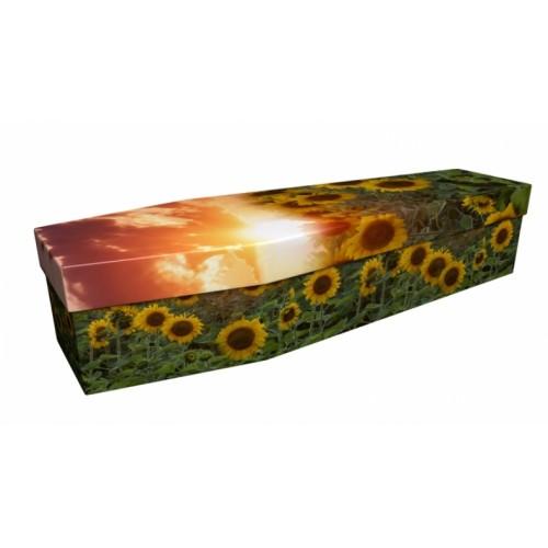 Sundown on Sunflowers – Floral Design Picture Coffin