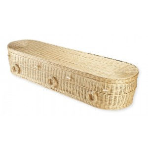 Premium Wicker / Willow Imperial Creamy White Oval Coffin.