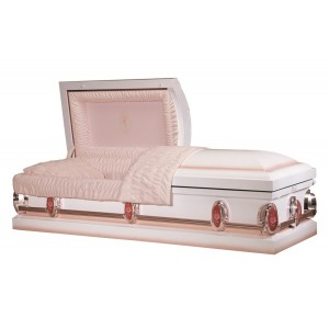 Decorative White (Steel) American Casket with Pink Highlights & Delicate Flower Design