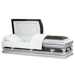 Two Tone Polished Black & Grey Steel American Casket - Decorative Corner Panels