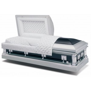 Two Tone Black Star Sapphire Silver (18 Gauge Steel) American Style Casket / Crepe Interior