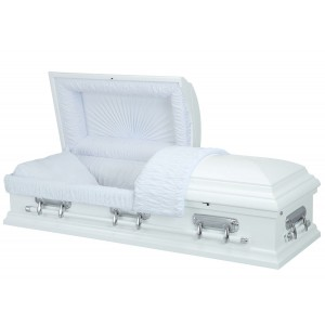 High Gloss White - Premium (Alder) Wooden American Casket – Luxurious White Crepe Interior