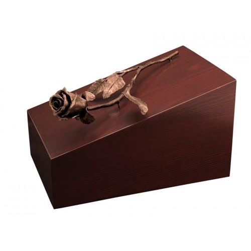 Unique Artistic Wooden Cremation Ashes Urn - Eden Rose - Bronze Plated