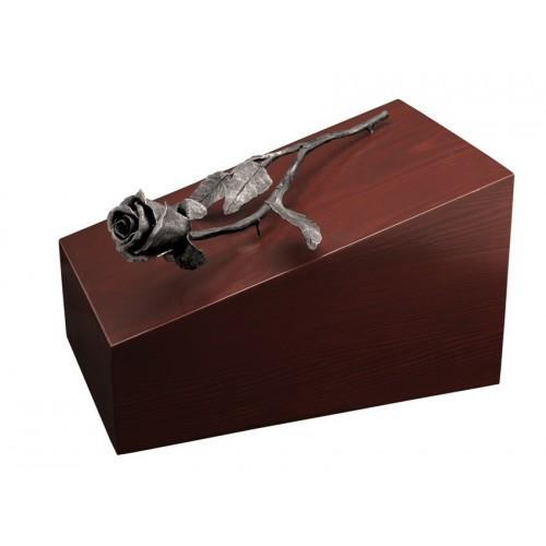Unique Artistic Wooden Cremation Ashes Urn - Eden Rose - Steel Plated