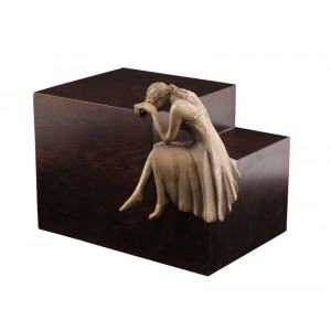 Unique Artistic Wooden Cremation Ashes Urn - Tearful Angel  - Bronze Plated