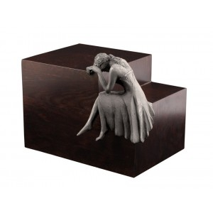 Unique Artistic Wooden Cremation Ashes Urn - Tearful Angel - Steel Plated