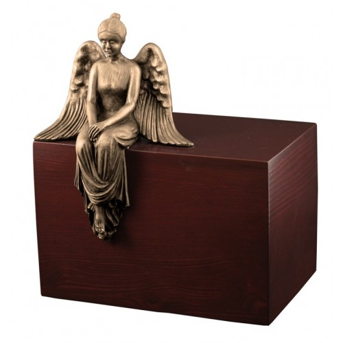 Unique Artistic Wooden Cremation Ashes Urn - Reflecting Angel  - Bronze Plated