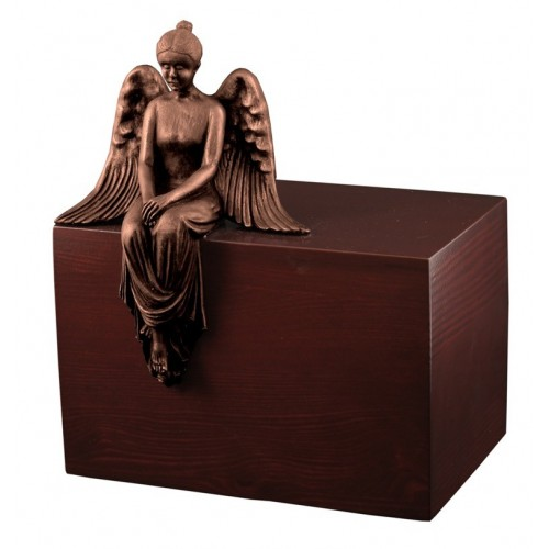 Unique Artistic Wooden Cremation Ashes Urn - Reflecting Angel - Copper Plated