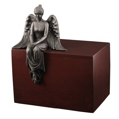 Unique Artistic Wooden Cremation Ashes Urn - Reflecting Angel - Steel Plated