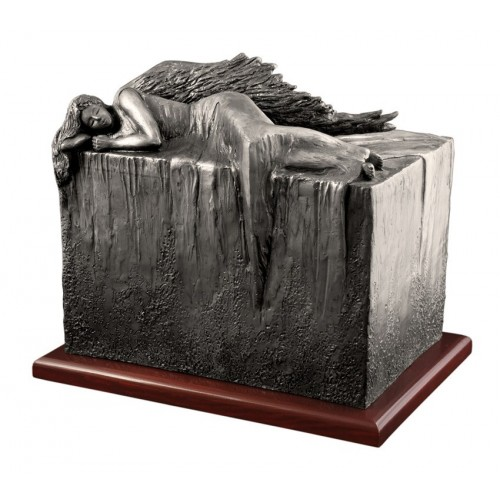 Unique Artistic Wooden Cremation Ashes Urn - Angel at Rest - Steel Plated
