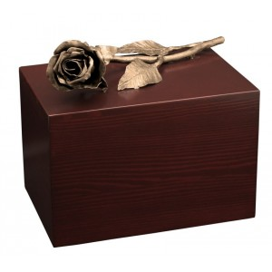 Unique Artistic Wooden Cremation Ashes Urn - The Rose - Bronze Plated