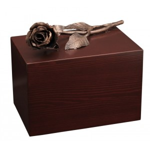 Unique Artistic Wooden Cremation Ashes Urn - The Rose - Copper Plated