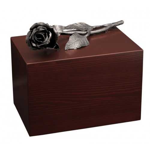 Unique Artistic Wooden Cremation Ashes Urn - The Rose - Steel Plated