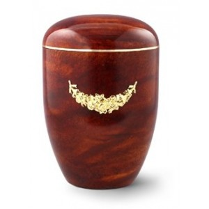 Biodegradable Rosewood Effect (Garland Design) Cremation Ashes Urn