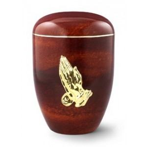 Biodegradable Rosewood Effect ( Praying Hands Design) Cremation Ashes Urn