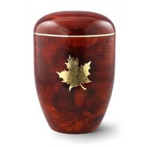 Biodegradable Rosewood Effect ( Maple Leaf Design) Cremation Ashes Urn