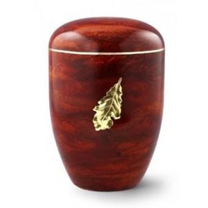 Biodegradable Rosewood Effect ( Oak Leaf Design) Cremation Ashes Urn