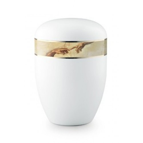 Biodegradable Cremation Ashes Urn (Spark of Life - Hands of God & Adam)