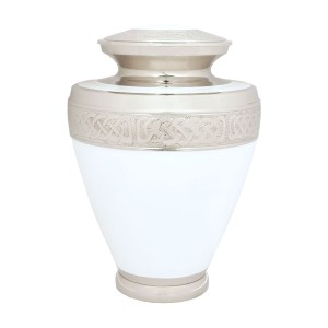 Marble White Brass Cremation Ashes Urn