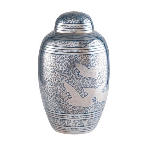 Peacefully Ascending Birds Brass Cremation Ashes Urn