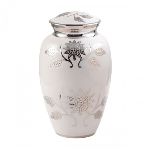 Floral White Rose Brass Cremation Ashes Urn