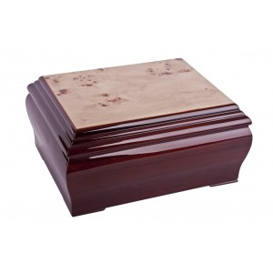 Rich Mahogany Coloured (with Walnut Inlay) Cremation Ashes Casket - **FREE Engraving**