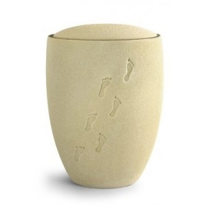 Footprints in the Sand Ceramic Cremation Ashes Urn