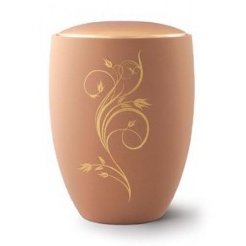 Seville Ceramic Cremation Ashes Urn – Sand with Antique Gold Floral Design & Lid