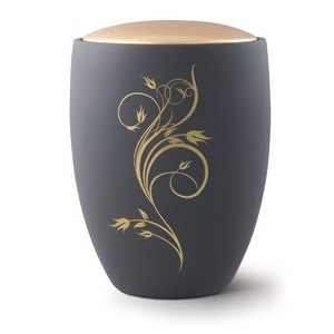 Seville Ceramic Cremation Ashes Urn – Graphite with Antique Gold Floral Design & Lid