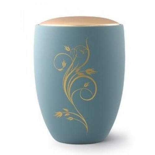 Seville Ceramic Cremation Ashes Urn – Turquoise with Antique Gold Floral Design & Lid