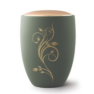 Seville Ceramic Cremation Ashes Urn – Olive with Antique Gold Floral Design & Lid
