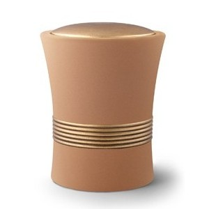 Luxian Ceramic Cremation Ashes Urn – Sand with Antique Gold Stripes & Lid
