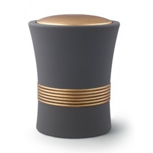 Luxian Ceramic Cremation Ashes Urn – Graphite with Antique Gold Stripes & Lid