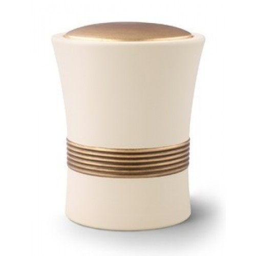 Luxian Ceramic Cremation Ashes Urn – Cream with Antique Gold Stripes & Lid