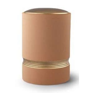 Linea Ceramic Cremation Ashes Urn – Sand with Antique Gold Stripes & Lid