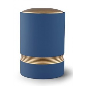 Linea Ceramic Cremation Ashes Urn – Blue with Antique Gold Stripes & Lid