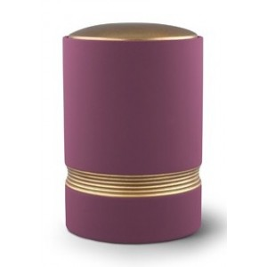 Linea Ceramic Cremation Ashes Urn – Purple with Antique Gold Stripes & Lid