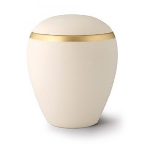 Croma Ceramic Cremation Ashes Urn - Wellsbourne Cream With Contrasting Antique Gold Band