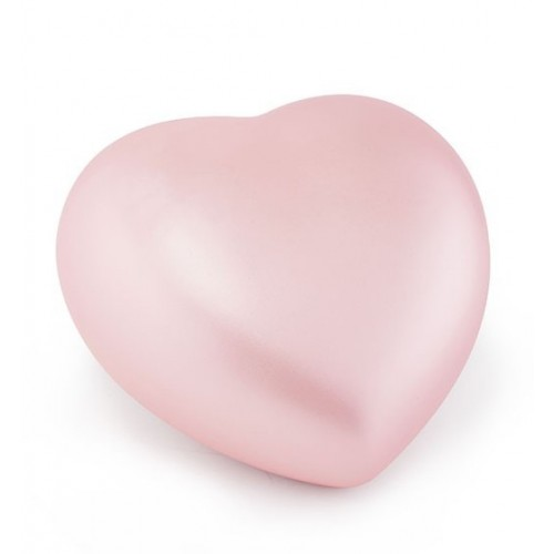 Ceramic Heart Shape Small Cremation Ashes Urn – CHERISHED PINK - Capacity 1.5 Litres