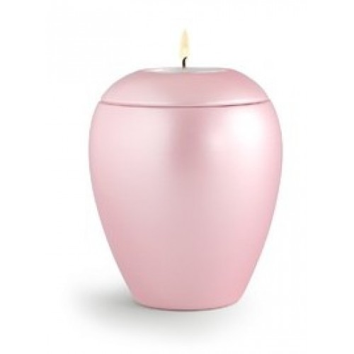 Tealight Holder – Infant / Baby Ceramic Cremation Ashes Urn - CHERISHED PINK