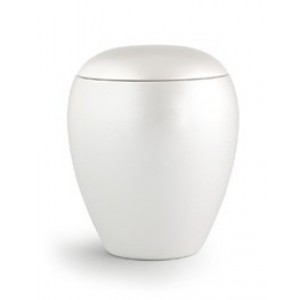 CHERISHED WHITE - Small Ceramic Cremation Ashes Funeral Urn / Casket - Capacity 1.5 Litres