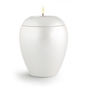 Tealight Holder – Small Ceramic Cremation Ashes Urn - CHERISHED WHITE