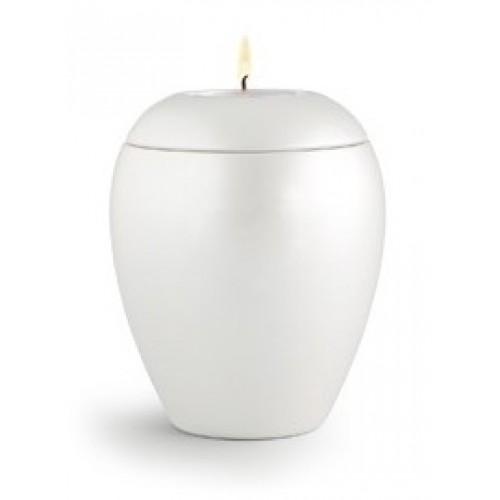 Tealight Holder – Infant / Baby Ceramic Cremation Ashes Urn - CHERISHED WHITE