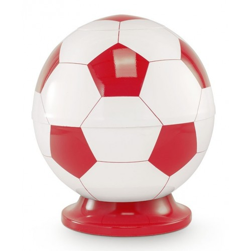 Premier Design Cremation Ashes Urn - RED & WHITE FOOTBALL