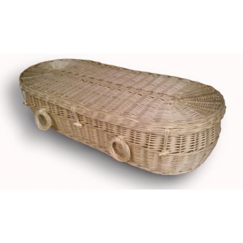 Woven Basket Casket : Wicker willow creamy white coloured baby child coffins