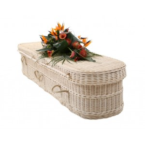 Cane Creamy White Oval Coffin - Massive Savings, Buy Direct with FREE Delivery