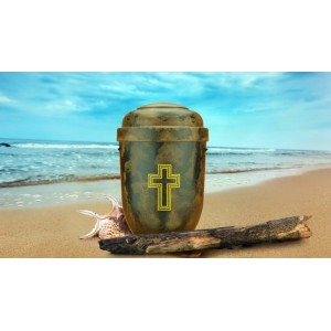 Biodegradable Cremation Ashes Funeral Urn / Casket - NATURAL WOOD EFFECT with GOLD CROSS