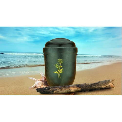 Biodegradable Cremation Ashes Funeral Urn / Casket - DARK WOOD EFFECT with DOUBLE ROSE