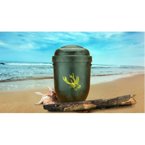 Biodegradable Cremation Ashes Funeral Urn / Casket - NATURAL WOOD EFFECT with STAG