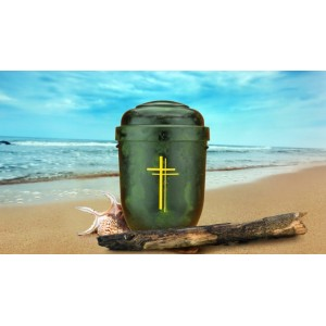 Biodegradable Cremation Ashes Funeral Urn / Casket -  GREEN ROOT WOOD EFFECT with DOUBLE CROSS
